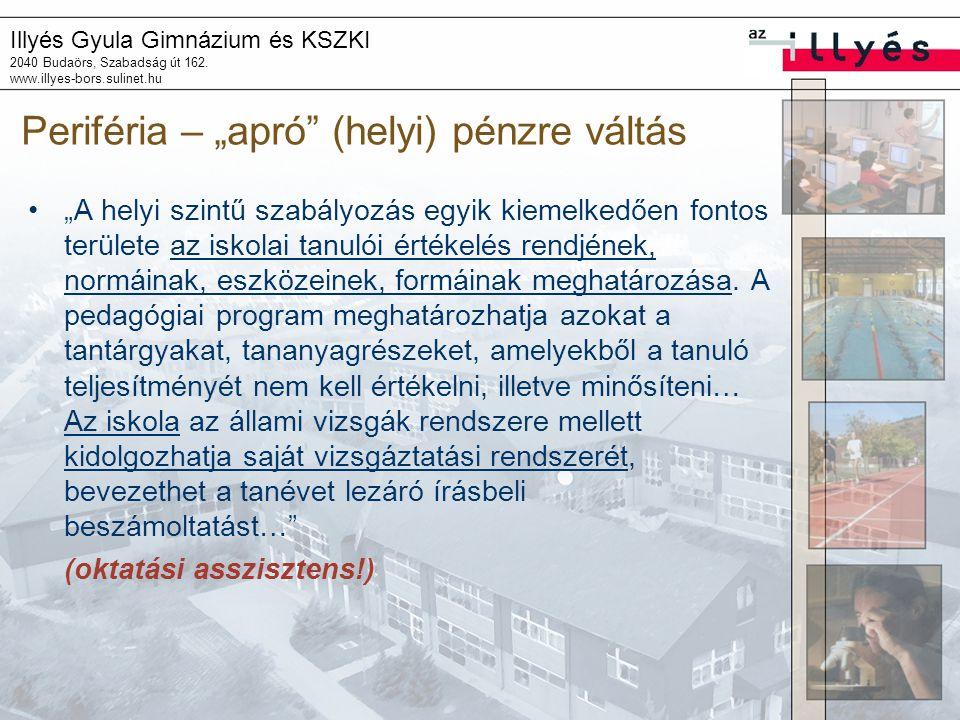 """Illyés Gyula Gimnázium és KSZKI 2040 Budaörs, Szabadság út 162. www.illyes-bors.sulinet.hu Periféria – """"apró"""" (helyi) pénzre váltás """"A helyi szintű sz"""