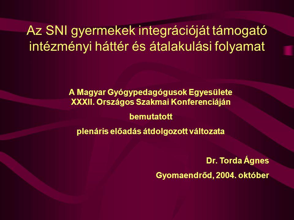 Az SNI gyermekek integrációját támogató intézményi háttér és átalakulási folyamat A Magyar Gyógypedagógusok Egyesülete XXXII.