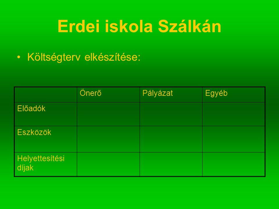 Erdei iskola Szálkán Költségterv elkészítése: ÖnerőPályázatEgyéb Előadók Eszközök Helyettesítési díjak