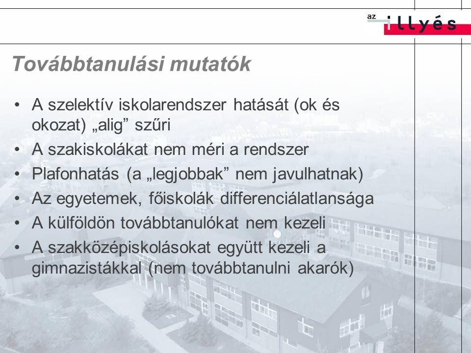 Érettségi eredmények Valós tudást mér (van tétje) Többmóduszú eloszlások (jegyhatárok) – megbízhatóság (emelt szint – populáció lefedettség) Nincsenek szocioökonómiai jellemzők Szakiskolák kimaradnak