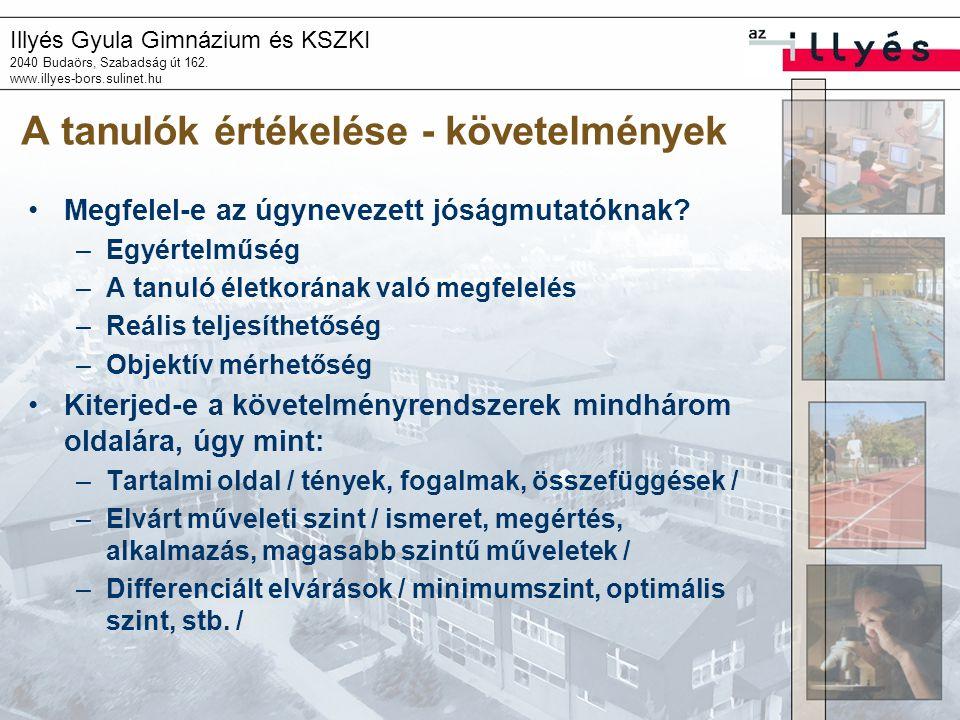 Illyés Gyula Gimnázium és KSZKI 2040 Budaörs, Szabadság út 162. www.illyes-bors.sulinet.hu A tanulók értékelése - követelmények Megfelel-e az úgynevez