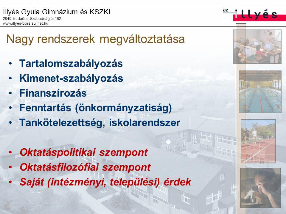 Illyés Gyula Gimnázium és KSZKI 2040 Budaörs, Szabadság út 162. www.illyes-bors.sulinet.hu Nagy rendszerek megváltoztatása Tartalomszabályozás Kimenet
