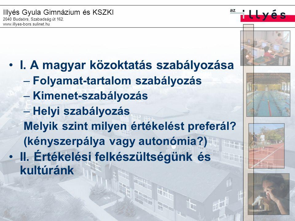 Illyés Gyula Gimnázium és KSZKI 2040 Budaörs, Szabadság út 162. www.illyes-bors.sulinet.hu I. A magyar közoktatás szabályozása –Folyamat-tartalom szab