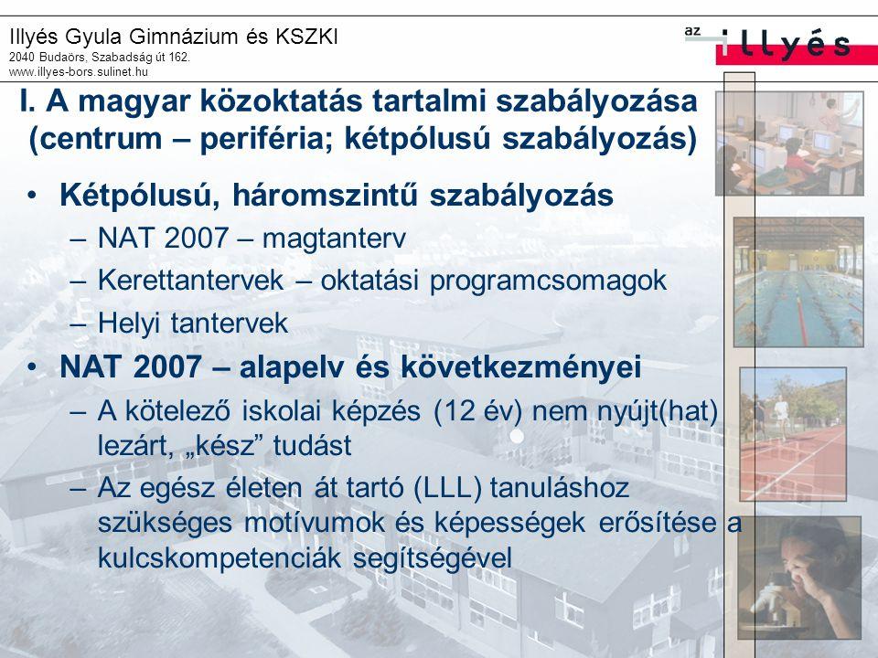Illyés Gyula Gimnázium és KSZKI 2040 Budaörs, Szabadság út 162. www.illyes-bors.sulinet.hu I. A magyar közoktatás tartalmi szabályozása (centrum – per