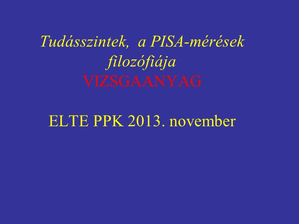 Tudásszintek, a PISA-mérések filozófiája VIZSGAANYAG ELTE PPK 2013. november
