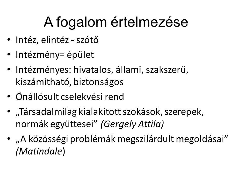 """A fogalom értelmezése Intéz, elintéz - szótő Intézmény= épület Intézményes: hivatalos, állami, szakszerű, kiszámítható, biztonságos Önállósult cselekvési rend """"Társadalmilag kialakított szokások, szerepek, normák együttesei (Gergely Attila) """"A közösségi problémák megszilárdult megoldásai (Matindale)"""