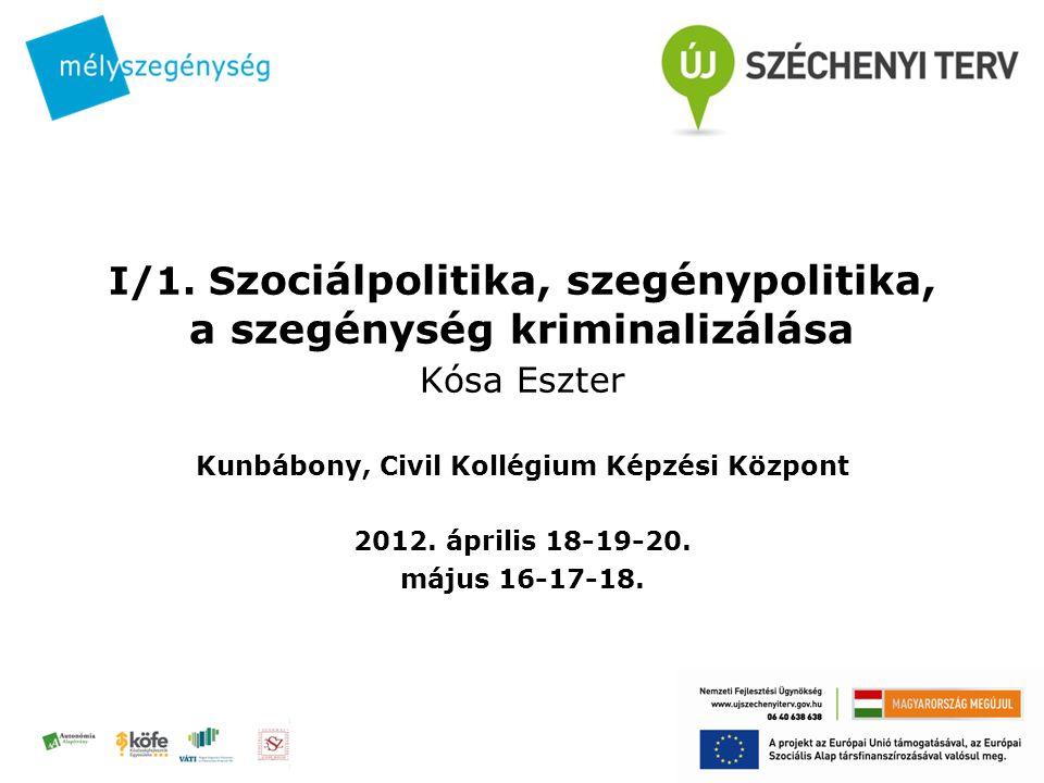 I/1. S zociálpolitika, szegénypolitika, a szegénység kriminalizálása Kósa Eszter Kunbábony, Civil Kollégium Képzési Központ 2012. április 18-19-20. má