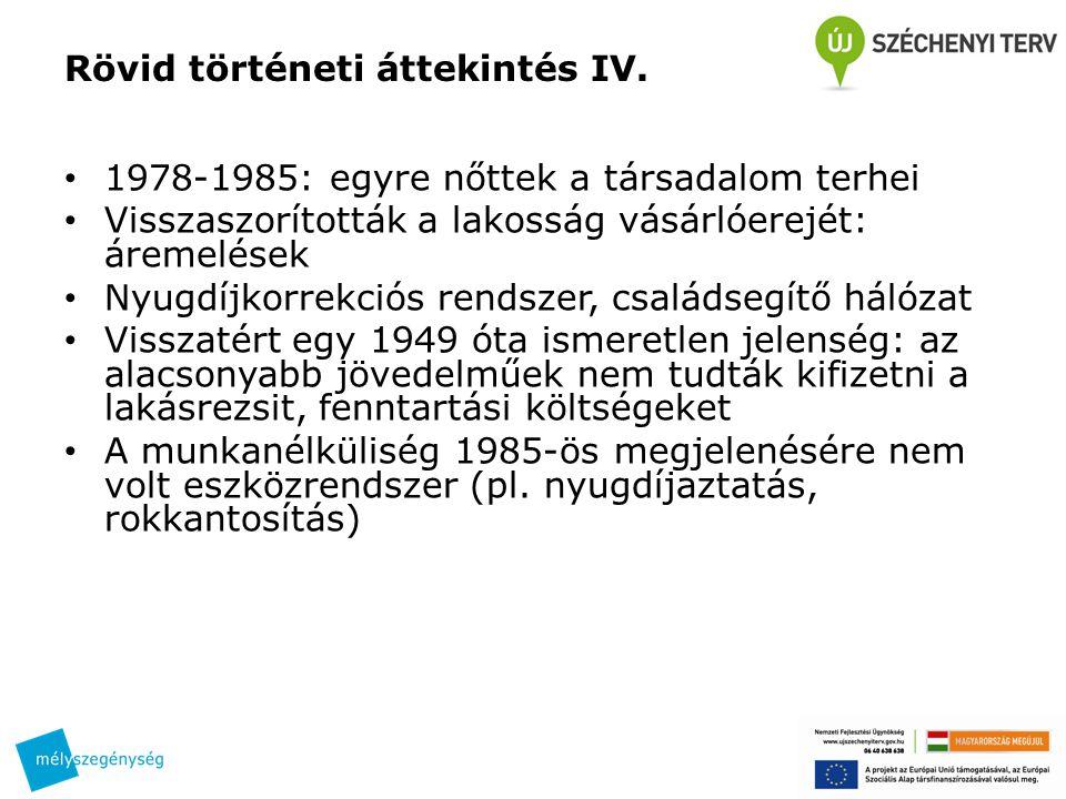 Rövid történeti áttekintés IV. 1978-1985: egyre nőttek a társadalom terhei Visszaszorították a lakosság vásárlóerejét: áremelések Nyugdíjkorrekciós re