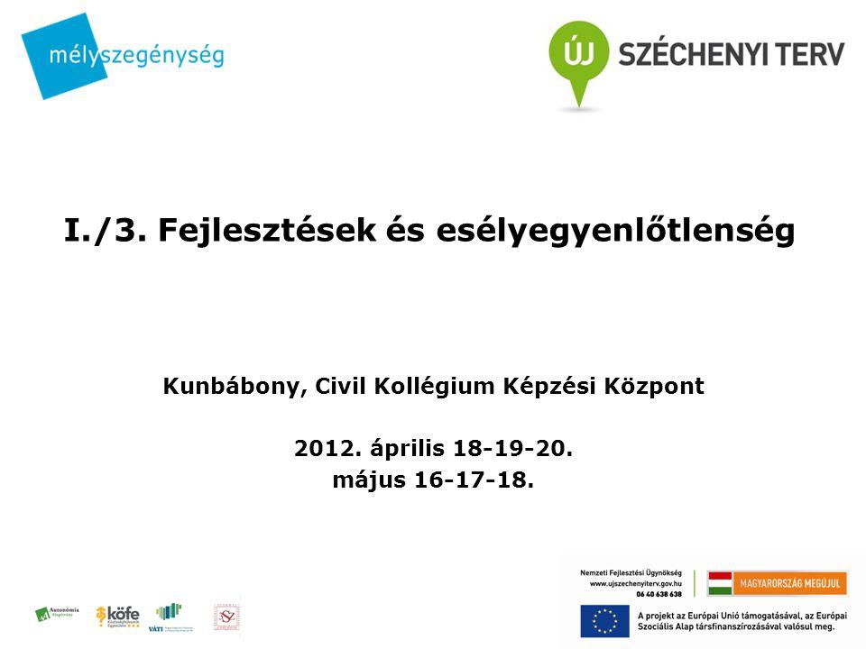 I./3.Fejlesztések és esélyegyenlőtlenség Kunbábony, Civil Kollégium Képzési Központ 2012.