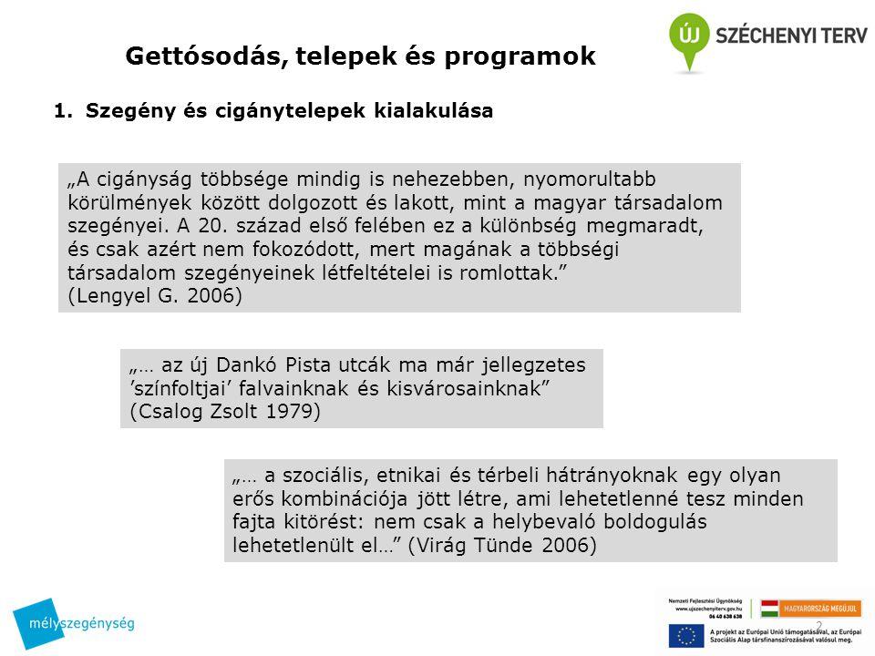 """Gettósodás, telepek és programok 1.Szegény és cigánytelepek kialakulása 2 """"A cigányság többsége mindig is nehezebben, nyomorultabb körülmények között dolgozott és lakott, mint a magyar társadalom szegényei."""