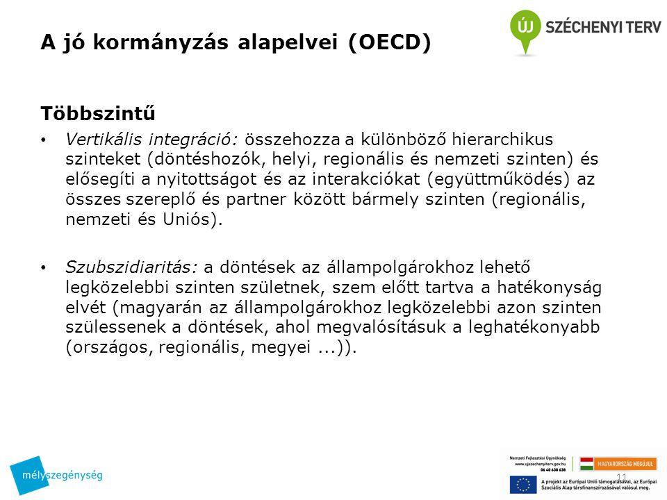 A jó kormányzás alapelvei (OECD) Többszintű Vertikális integráció: összehozza a különböző hierarchikus szinteket (döntéshozók, helyi, regionális és ne