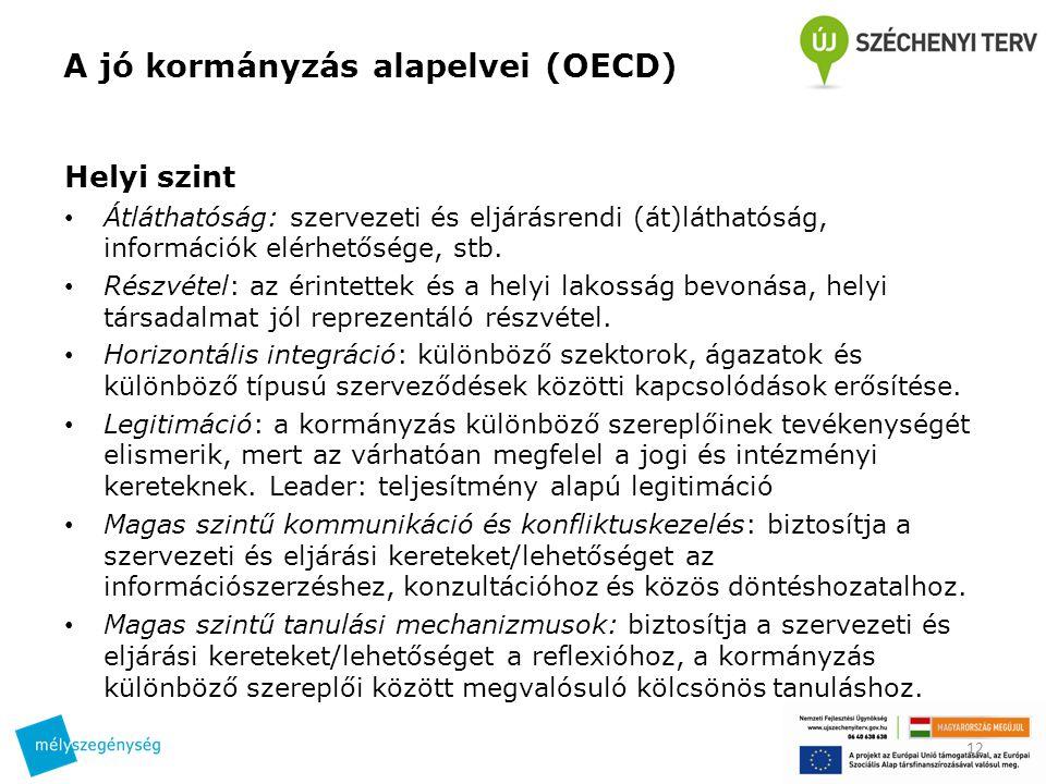 A jó kormányzás alapelvei (OECD) Helyi szint Átláthatóság: szervezeti és eljárásrendi (át)láthatóság, információk elérhetősége, stb. Részvétel: az éri