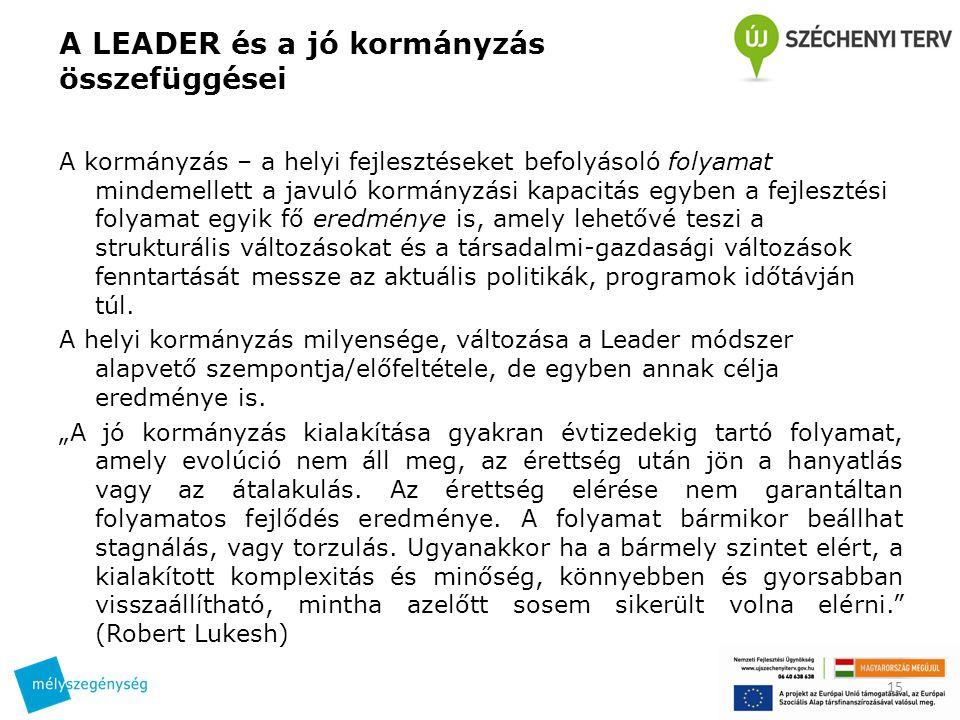 A LEADER és a jó kormányzás összefüggései A kormányzás – a helyi fejlesztéseket befolyásoló folyamat mindemellett a javuló kormányzási kapacitás egybe
