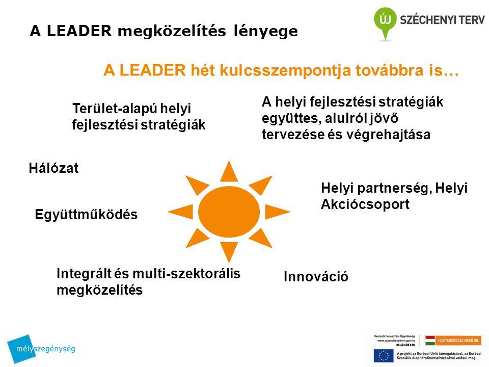 A LEADER hét kulcsszempontja továbbra is… Terület-alapú helyi fejlesztési stratégiák Helyi partnerség, Helyi Akciócsoport A helyi fejlesztési stratégiák együttes, alulról jövő tervezése és végrehajtása Integrált és multi-szektorális megközelítés Innováció Hálózat Együttműködés A LEADER megközelítés lényege