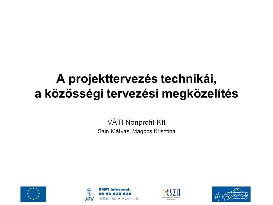 A projekttervezés technikái, a közösségi tervezési megközelítés VÁTI Nonprofit Kft Sain Mátyás, Magócs Krisztina