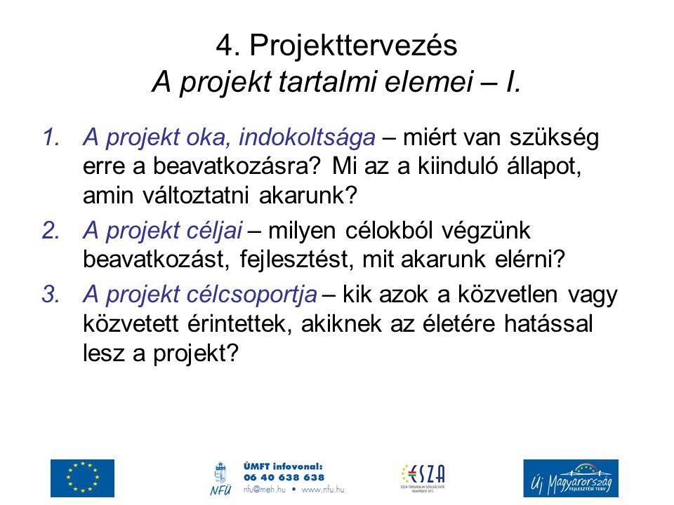 4.Projekttervezés A projekt tartalmi elemei – I.