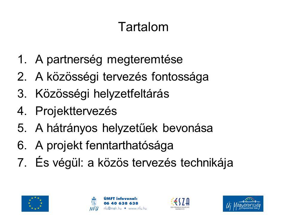 Tartalom 1.A partnerség megteremtése 2.A közösségi tervezés fontossága 3.Közösségi helyzetfeltárás 4.Projekttervezés 5.A hátrányos helyzetűek bevonása 6.A projekt fenntarthatósága 7.És végül: a közös tervezés technikája