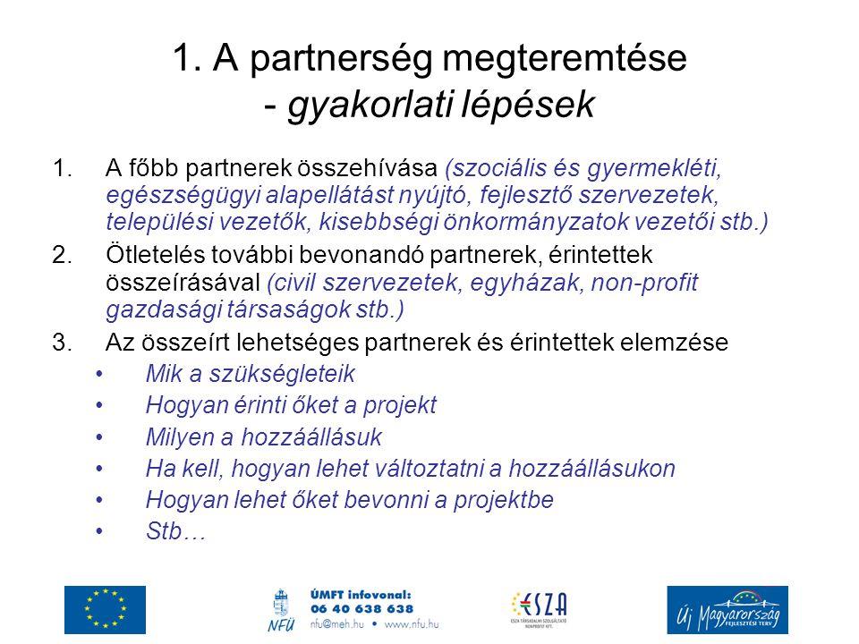 1. A partnerség megteremtése - gyakorlati lépések 1.A főbb partnerek összehívása (szociális és gyermekléti, egészségügyi alapellátást nyújtó, fejleszt