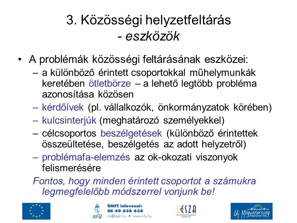 3. Közösségi helyzetfeltárás - eszközök A problémák közösségi feltárásának eszközei: –a különböző érintett csoportokkal műhelymunkák keretében ötletbö