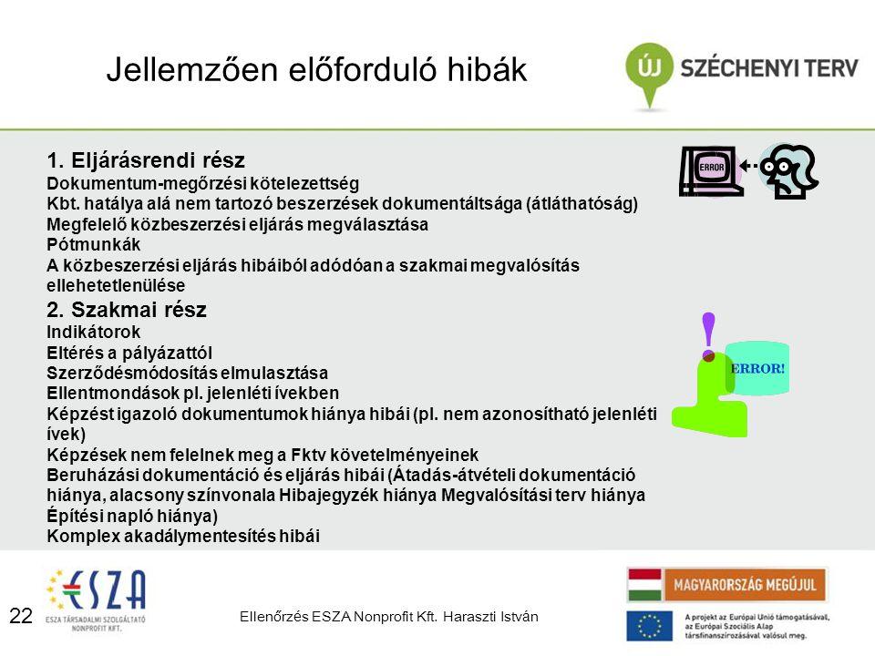 22 Jellemzően előfordul ó hib á k Ellenőrz é s ESZA Nonprofit Kft. Haraszti Istv á n 1. Eljárásrendi rész Dokumentum-megőrzési kötelezettség Kbt. hatá