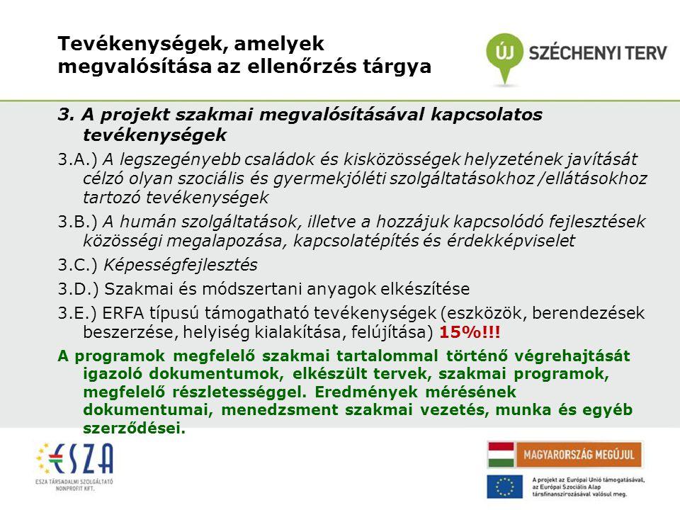 Tevékenységek, amelyek megvalósítása az ellenőrzés tárgya 3. A projekt szakmai megvalósításával kapcsolatos tevékenységek 3.A.) A legszegényebb család