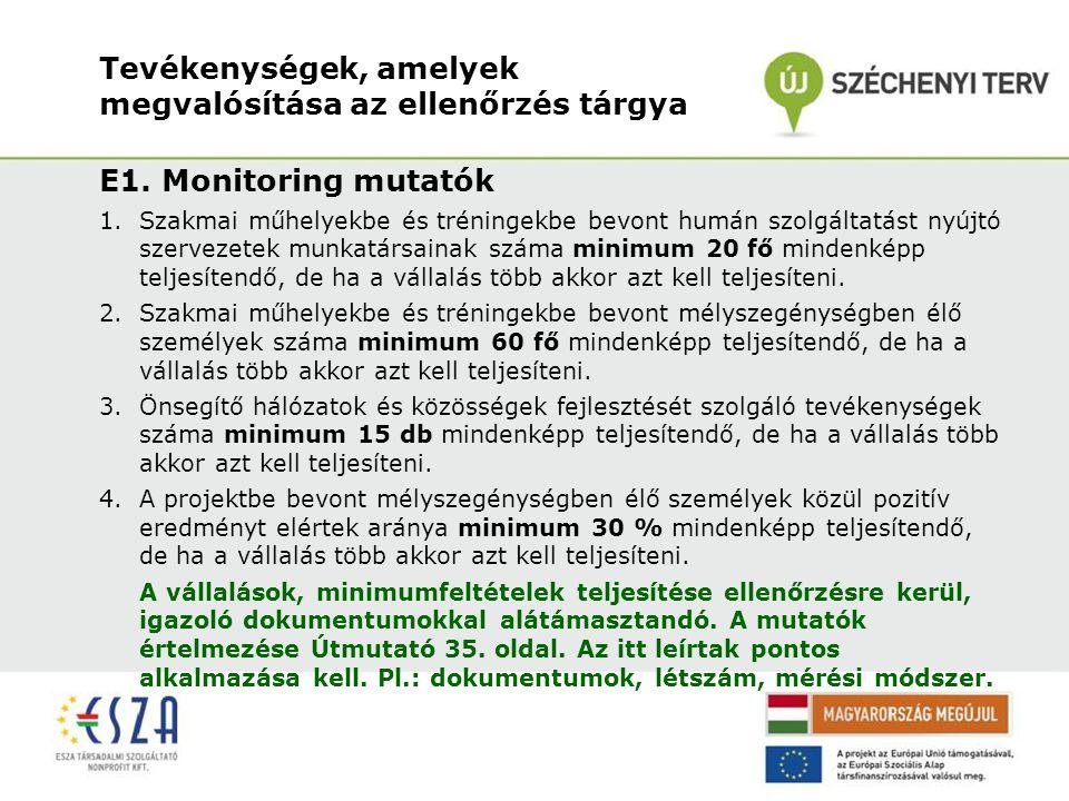 Tevékenységek, amelyek megvalósítása az ellenőrzés tárgya E1. Monitoring mutatók 1.Szakmai műhelyekbe és tréningekbe bevont humán szolgáltatást nyújtó