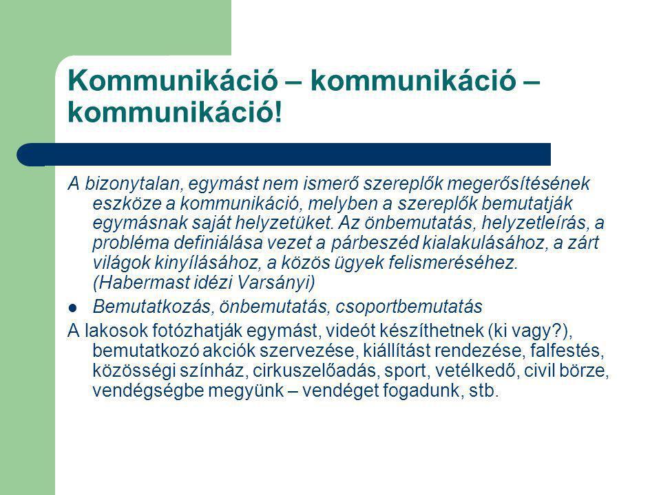 Kommunikáció – kommunikáció – kommunikáció! A bizonytalan, egymást nem ismerő szereplők megerősítésének eszköze a kommunikáció, melyben a szereplők be