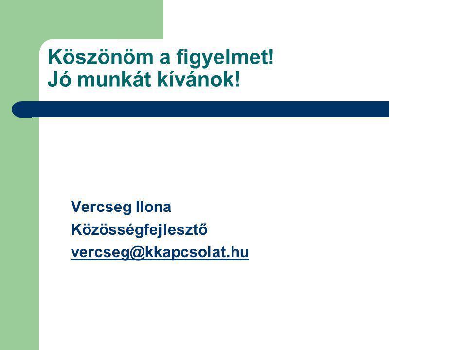 Köszönöm a figyelmet! Jó munkát kívánok! Vercseg Ilona Közösségfejlesztő vercseg@kkapcsolat.hu