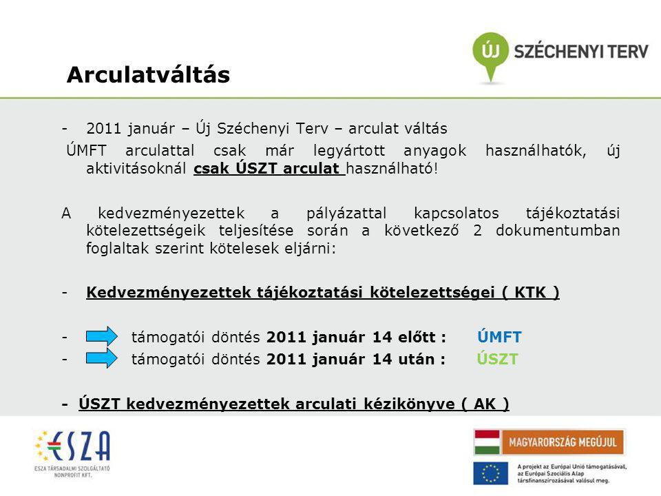 Arculatváltás -2011 január – Új Széchenyi Terv – arculat váltás ÚMFT arculattal csak már legyártott anyagok használhatók, új aktivitásoknál csak ÚSZT