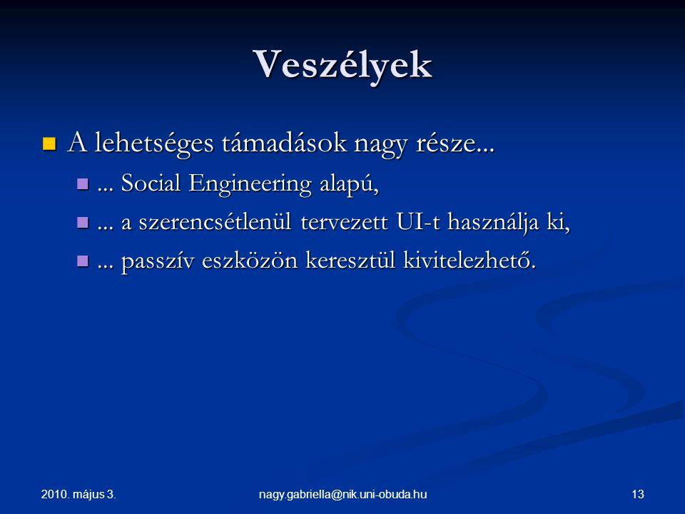 2010. május 3. 13nagy.gabriella@nik.uni-obuda.hu Veszélyek A lehetséges támadások nagy része... A lehetséges támadások nagy része...... Social Enginee