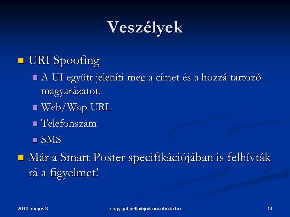 2010. május 3. 14nagy.gabriella@nik.uni-obuda.hu Veszélyek URI Spoofing URI Spoofing A UI együtt jeleníti meg a címet és a hozzá tartozó magyarázatot.