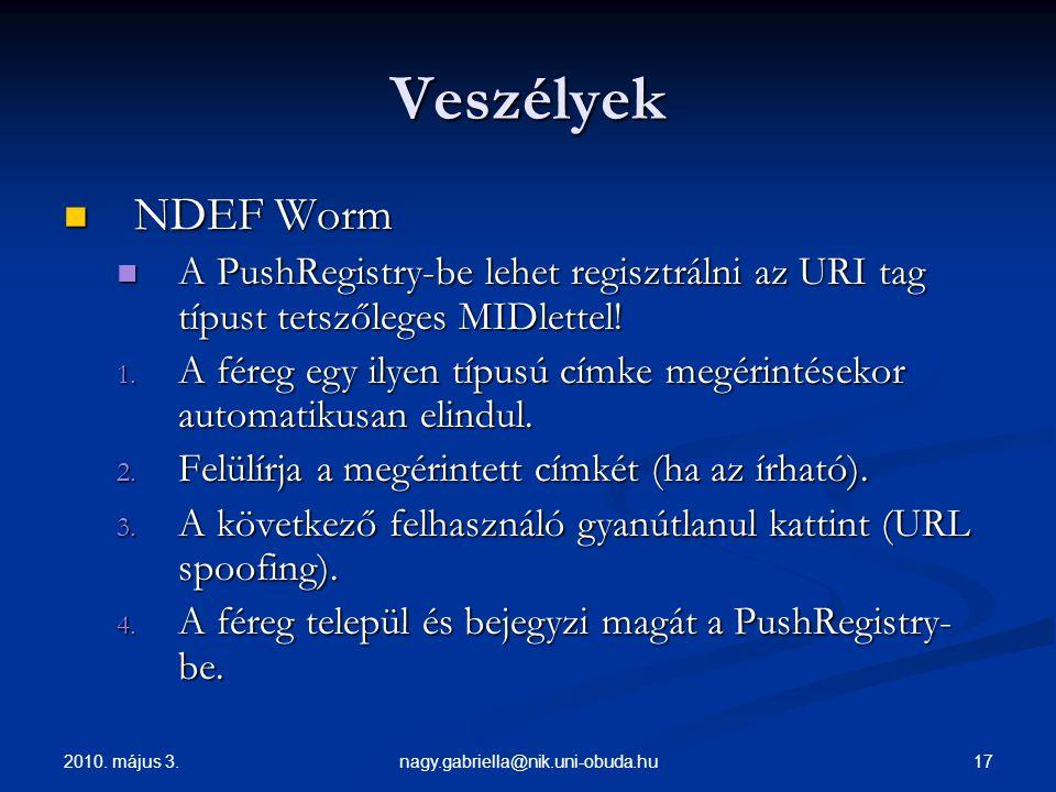 2010. május 3. 17nagy.gabriella@nik.uni-obuda.hu Veszélyek NDEF Worm NDEF Worm A PushRegistry-be lehet regisztrálni az URI tag típust tetszőleges MIDl