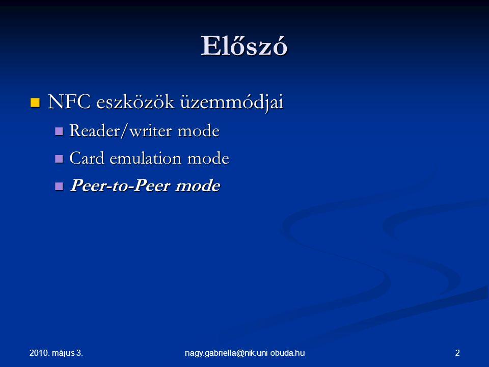 2010. május 3. 2nagy.gabriella@nik.uni-obuda.hu Előszó NFC eszközök üzemmódjai NFC eszközök üzemmódjai Reader/writer mode Reader/writer mode Card emul