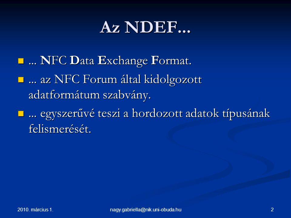 2010. március 1. 2nagy.gabriella@nik.uni-obuda.hu Az NDEF......