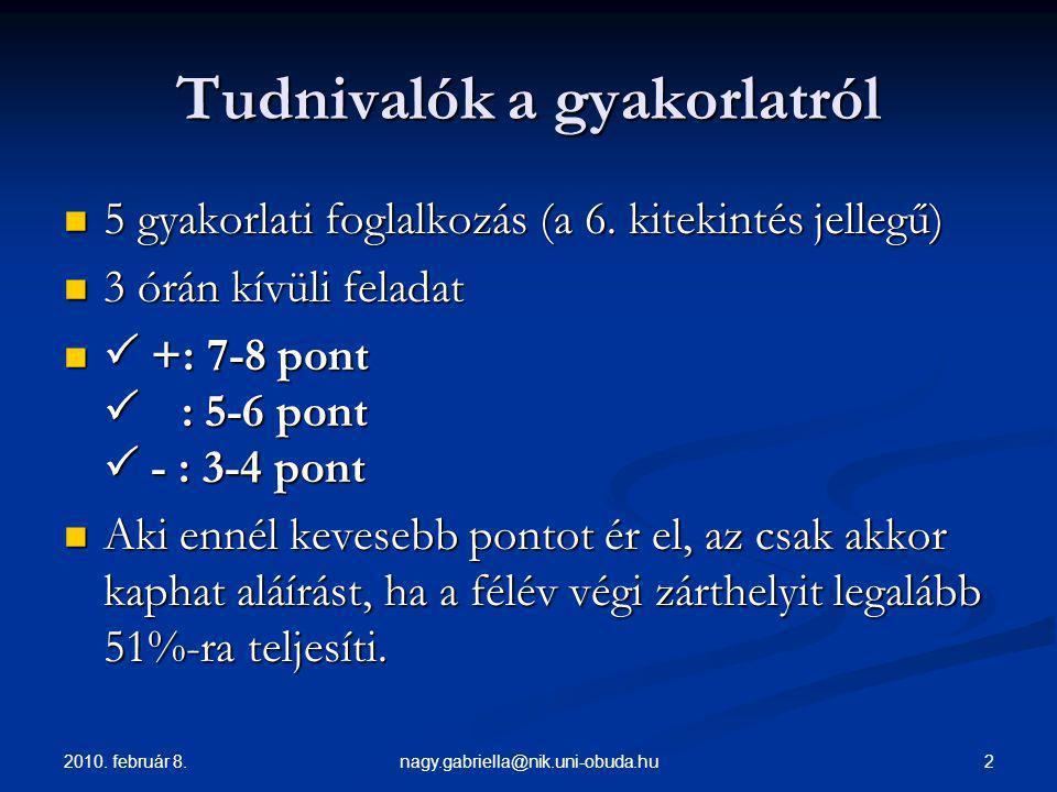 2010. február 8. 2nagy.gabriella@nik.uni-obuda.hu Tudnivalók a gyakorlatról 5 gyakorlati foglalkozás (a 6. kitekintés jellegű) 5 gyakorlati foglalkozá