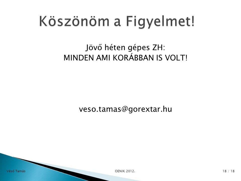 Jövő héten gépes ZH: MINDEN AMI KORÁBBAN IS VOLT. veso.tamas@gorextar.hu Véső Tamás OENIK 2012.