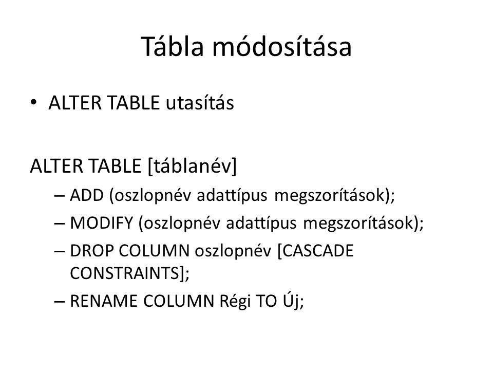 Tábla módosítása ALTER TABLE utasítás ALTER TABLE [táblanév] – ADD (oszlopnév adattípus megszorítások); – MODIFY (oszlopnév adattípus megszorítások); – DROP COLUMN oszlopnév [CASCADE CONSTRAINTS]; – RENAME COLUMN Régi TO Új;