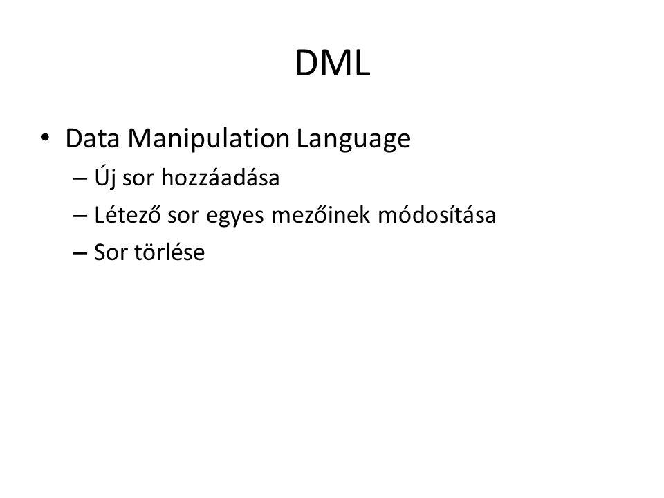 DML Data Manipulation Language – Új sor hozzáadása – Létező sor egyes mezőinek módosítása – Sor törlése