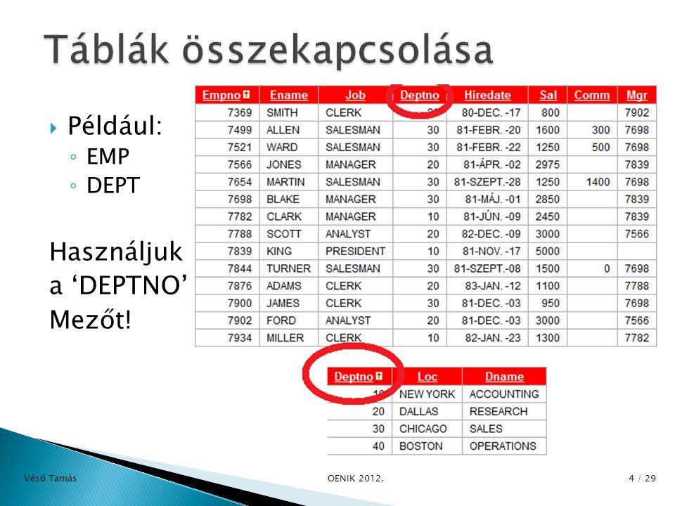  Például: ◦ EMP ◦ DEPT Használjuk a 'DEPTNO' Mezőt! Véső Tamás OENIK 2012. 4 / 29