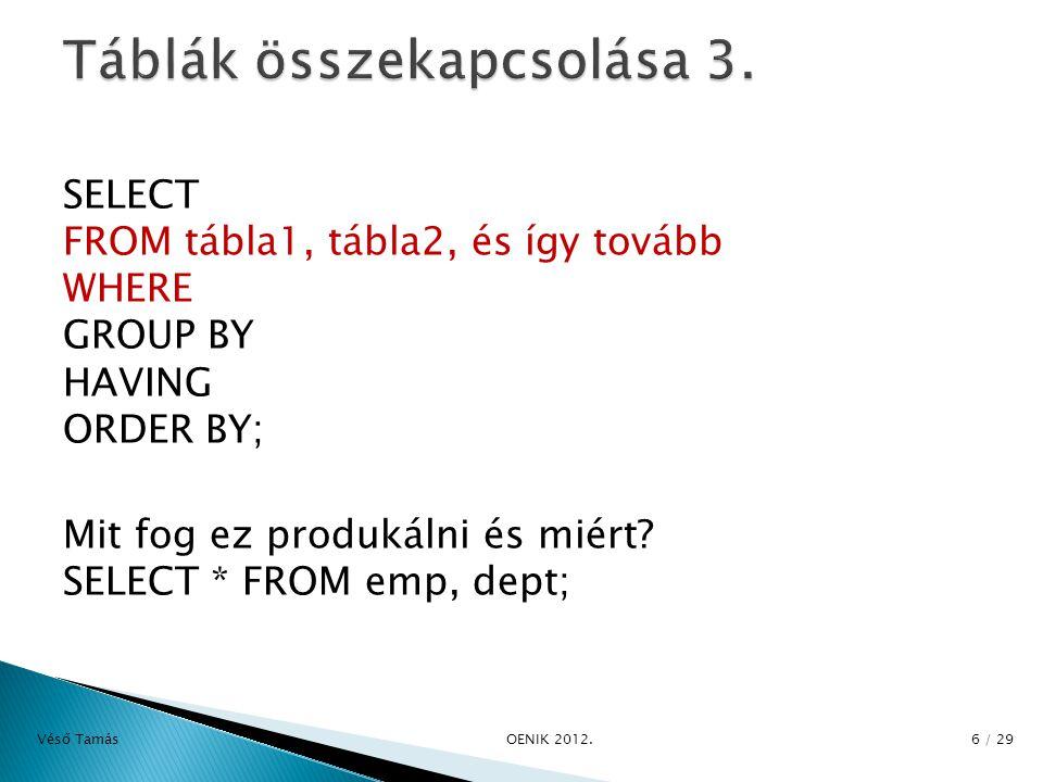 EMP és DEPT tábla összekapcsolása: Mindenképp kell valamilyen feltétel: SELECT a.ename, b.loc FROM emp a, dept b WHERE a.deptno = b.deptno; avagy: SELECT ename, loc FROM emp, dept WHERE emp.deptno=dept.deptno; Véső Tamás OENIK 2012.