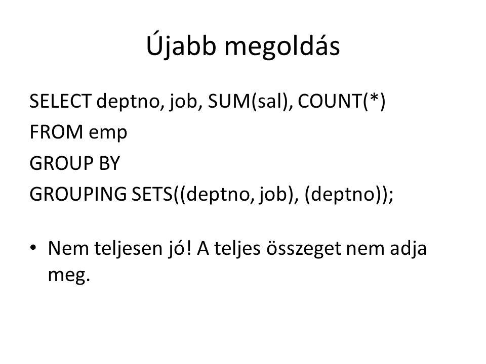 Újabb megoldás SELECT deptno, job, SUM(sal), COUNT(*) FROM emp GROUP BY GROUPING SETS((deptno, job), (deptno)); Nem teljesen jó.
