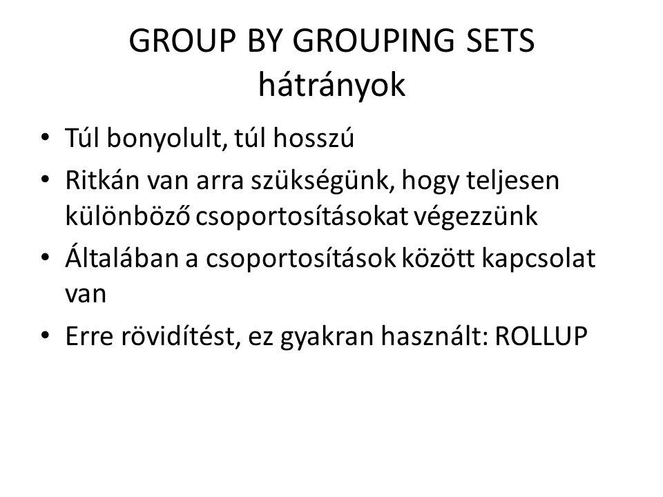 GROUP BY GROUPING SETS hátrányok Túl bonyolult, túl hosszú Ritkán van arra szükségünk, hogy teljesen különböző csoportosításokat végezzünk Általában a csoportosítások között kapcsolat van Erre rövidítést, ez gyakran használt: ROLLUP