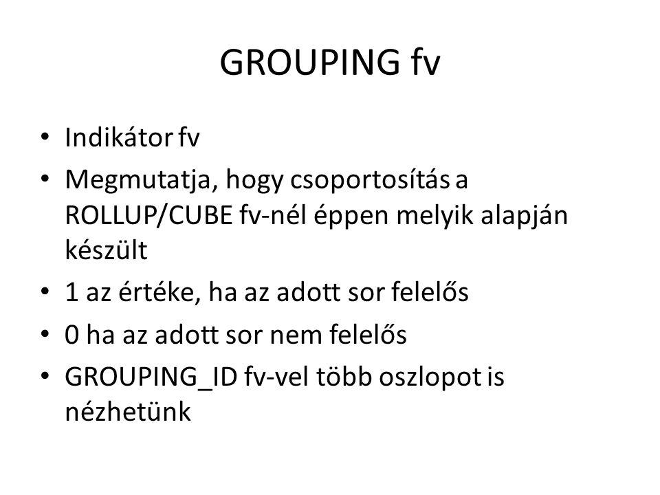 GROUPING fv Indikátor fv Megmutatja, hogy csoportosítás a ROLLUP/CUBE fv-nél éppen melyik alapján készült 1 az értéke, ha az adott sor felelős 0 ha az adott sor nem felelős GROUPING_ID fv-vel több oszlopot is nézhetünk