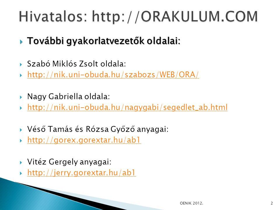  További gyakorlatvezetők oldalai:  Szabó Miklós Zsolt oldala:  http://nik.uni-obuda.hu/szabozs/WEB/ORA/ http://nik.uni-obuda.hu/szabozs/WEB/ORA/  Nagy Gabriella oldala:  http://nik.uni-obuda.hu/nagygabi/segedlet_ab.html http://nik.uni-obuda.hu/nagygabi/segedlet_ab.html  Véső Tamás és Rózsa Győző anyagai:  http://gorex.gorextar.hu/ab1 http://gorex.gorextar.hu/ab1  Vitéz Gergely anyagai:  http://jerry.gorextar.hu/ab1 http://jerry.gorextar.hu/ab1 OENIK 2012.2