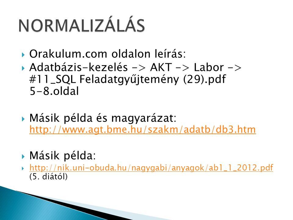  Orakulum.com oldalon leírás:  Adatbázis-kezelés -> AKT -> Labor -> #11_SQL Feladatgyűjtemény (29).pdf 5-8.oldal  Másik példa és magyarázat: http://www.agt.bme.hu/szakm/adatb/db3.htm http://www.agt.bme.hu/szakm/adatb/db3.htm  Másik példa:  http://nik.uni-obuda.hu/nagygabi/anyagok/ab1_1_2012.pdf (5.