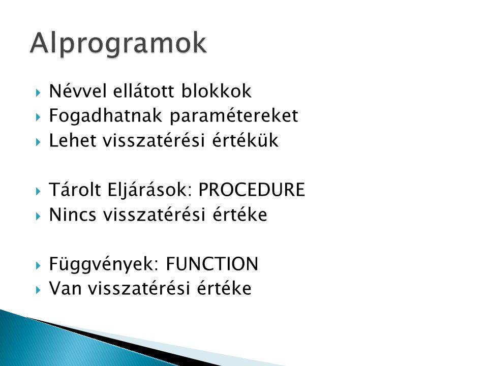  Névvel ellátott blokkok  Fogadhatnak paramétereket  Lehet visszatérési értékük  Tárolt Eljárások: PROCEDURE  Nincs visszatérési értéke  Függvények: FUNCTION  Van visszatérési értéke