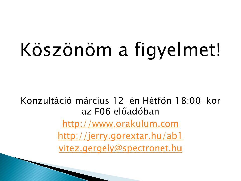Köszönöm a figyelmet! Konzultáció március 12-én Hétfőn 18:00-kor az F06 előadóban http://www.orakulum.com http://jerry.gorextar.hu/ab1 vitez.gergely@s
