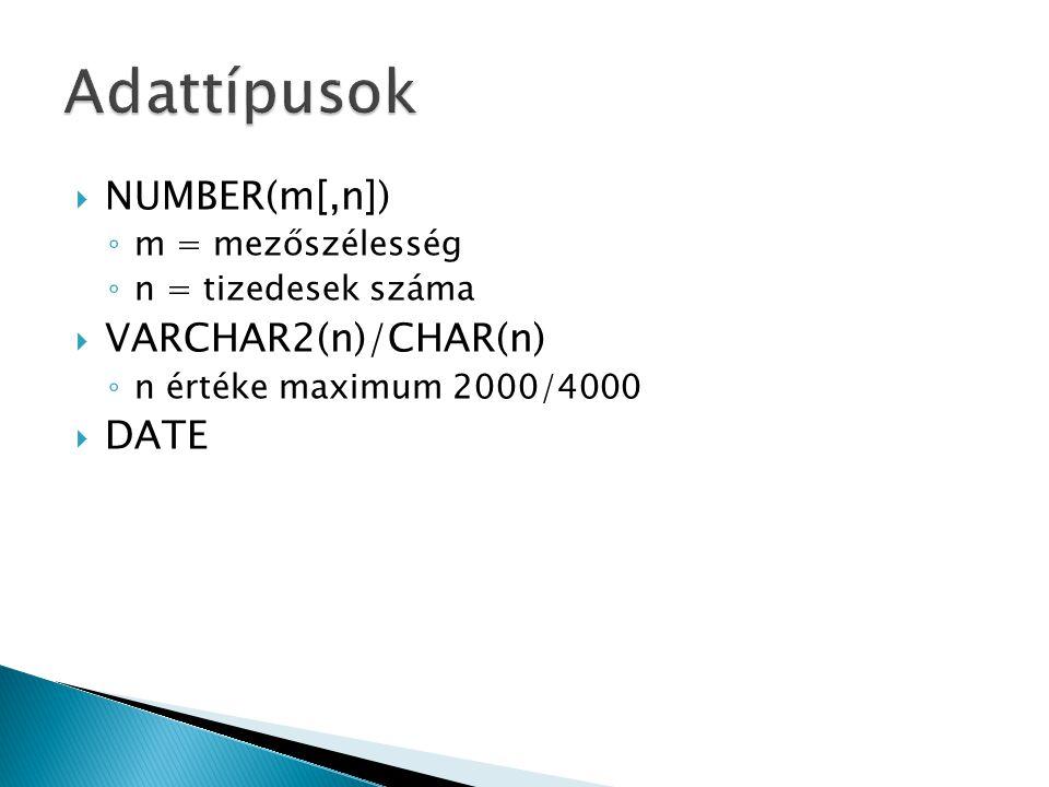  NUMBER(m[,n]) ◦ m = mezőszélesség ◦ n = tizedesek száma  VARCHAR2(n)/CHAR(n) ◦ n értéke maximum 2000/4000  DATE