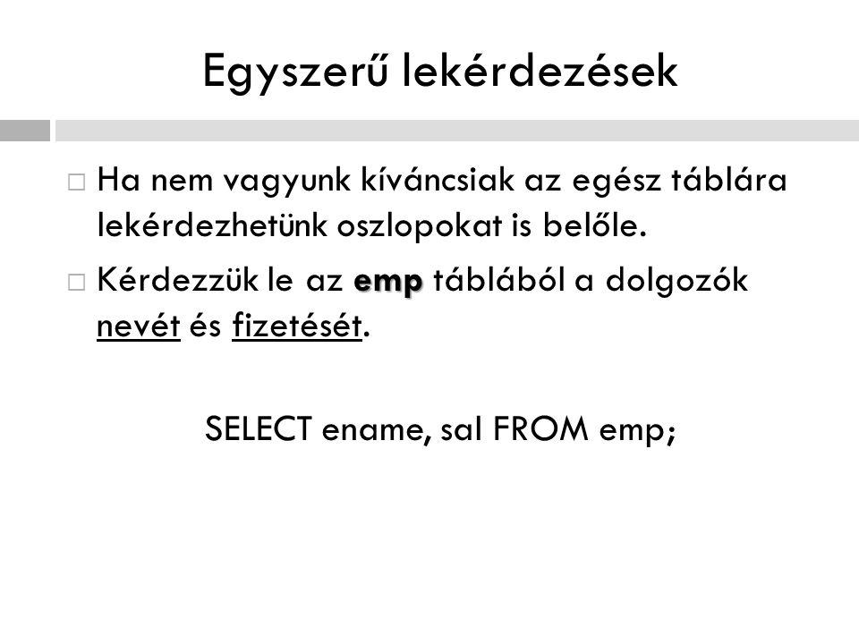Speciális függvények  Szintaktikája: CASE oszlopkifejezés [oszlopkifejezés] WHEN LogikaiKifejezés THEN VisszatérésiÉrték [WHEN LogikaiKifejezés THEN VisszatérésiÉrték] … [ELSE VisszatérésiÉrték] END