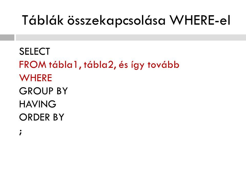 Táblák összekapcsolása WHERE-el SELECT FROM tábla1, tábla2, és így tovább WHERE GROUP BY HAVING ORDER BY ;